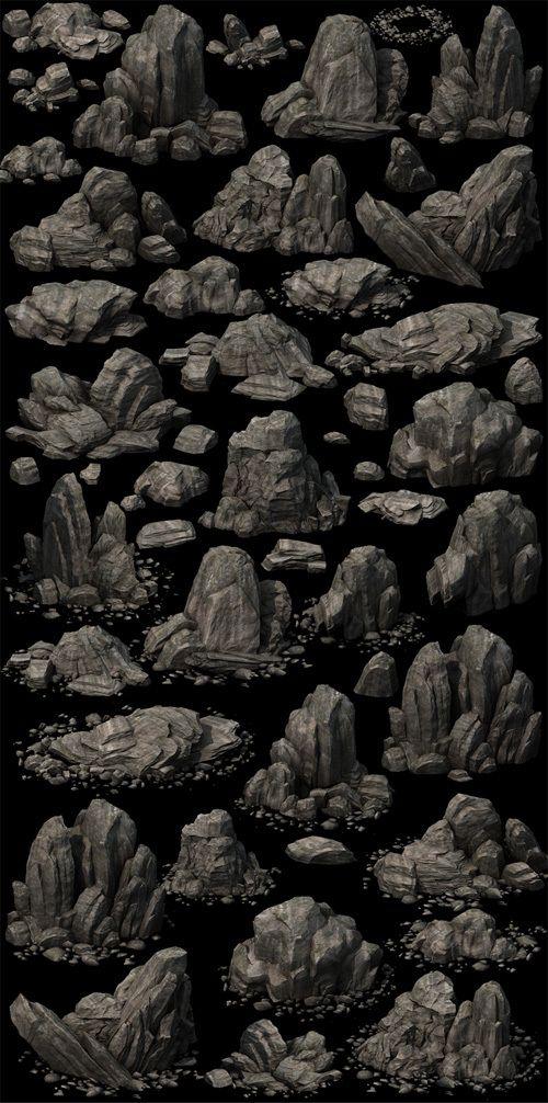 【高模】2D写实风格石头模型(2014)