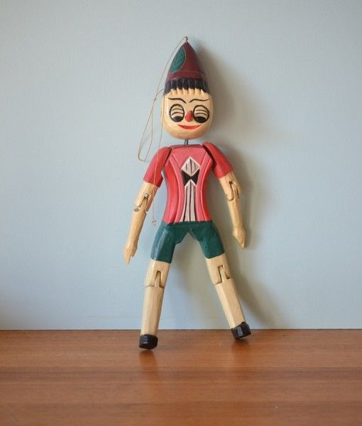 Vintage wooden Pinocchio doll figure