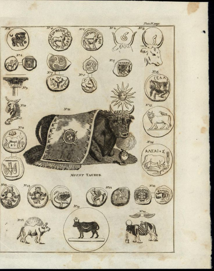 Taurus Bulls Animals Birds Latin 1817 Antique Numismatic Coins Engraved Print | eBay