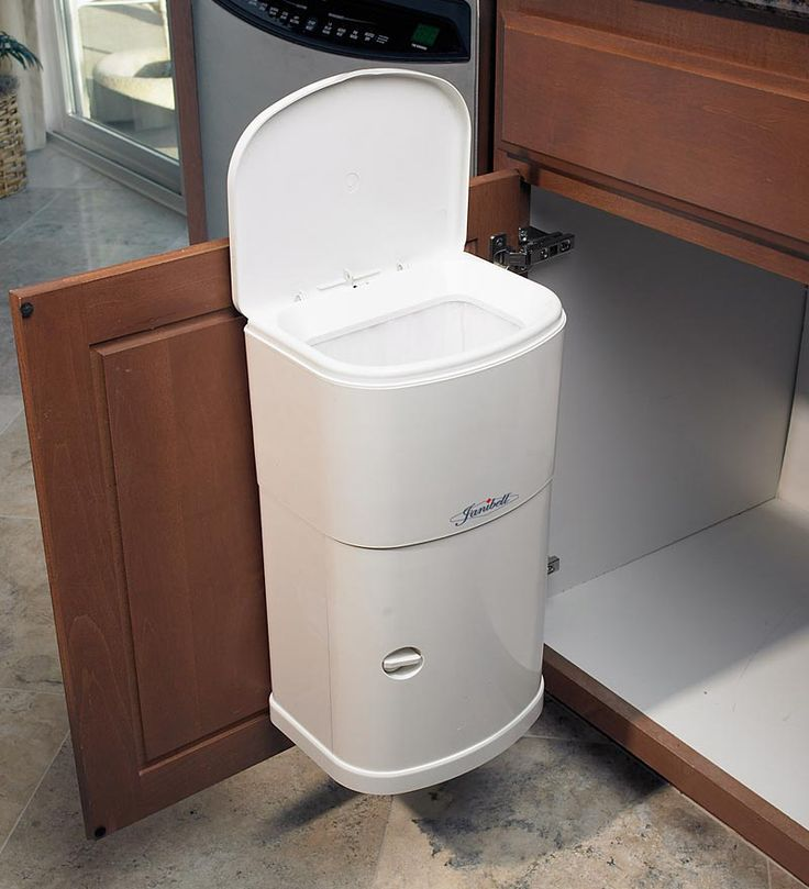 cabinet trash can with automatic lid this would be totally worth it to not have to put. Black Bedroom Furniture Sets. Home Design Ideas