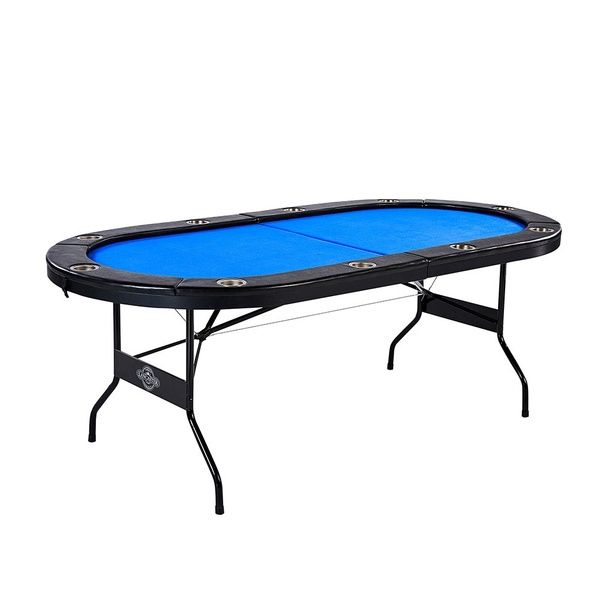 Lancaster 10 Player High Quality Blue Felt Casino Style Folding Poker Game Table Folding Poker Table Poker Table Table Games