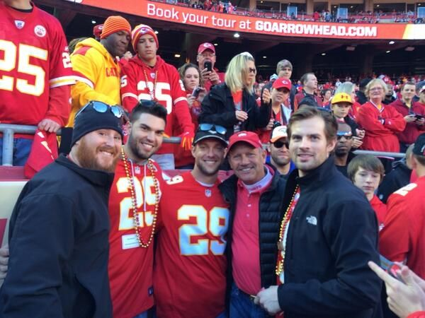 Eric Hosmer, Alex Gordon and Aaron Crow at the KC Chiefs game.