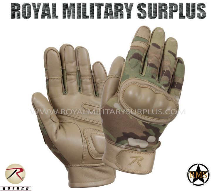Tactical Gloves - Hard Knuckles - MULTICAM (Multi-Environment) - 82,95$ (CAD) | MULTICAM (Multi-Environment Camouflage Pattern) USA/NATO Armed Forces Camouflage – 7 Colors Army/Military/Commando/Special Forces Design Made following Military Specifications Leather & Goatskin Construction Flame, Heat & Cut Resistant Hard Knuckles (Molded) Water Repellent Adjustable Wrist (Hook & Loop) BRAND NEW Available Sizes : S - M - L - XL - XXL http://www.royalmilitarysurplus.com/Gloves_c23.htm