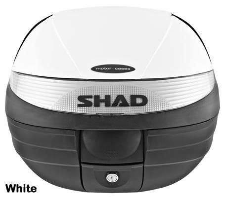"""Shad SH-29 motorcycle top case in white. Designed to attach to most flat luggage racks. Its dimensions are: 14.9"""" L x 15.7"""" W x 11.8"""" H   and has a 29 liter capacity. Your price is $125.95. With Free Shipping."""