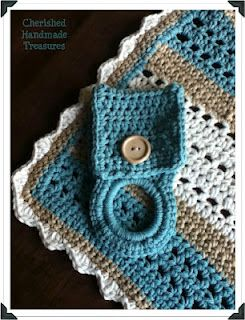 Easy Crochet Dish Cloth and towel holder
