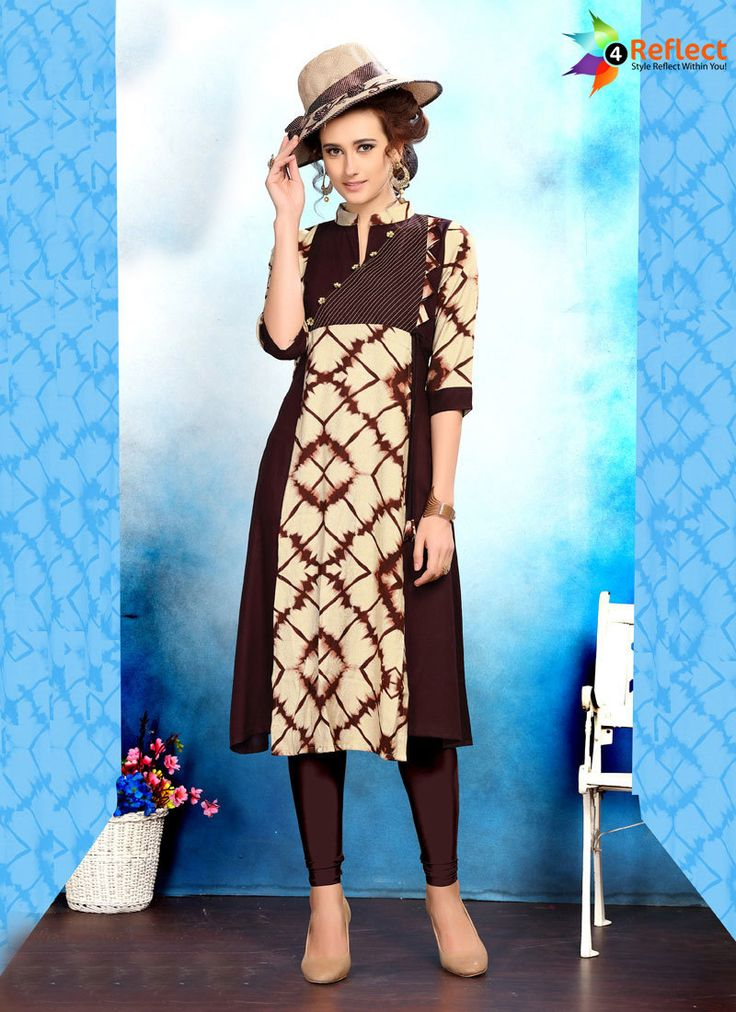 STUNNING BROWN RAYON PARTY WEAR KURTI