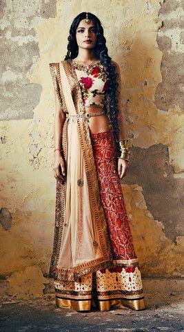 Sapana Amin Ivory Floral Lehenga Set