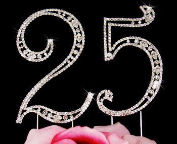 25th Birthday Swarovski Crystal Cake topper 25th Anniversary Cake Topper -- Read more reviews of the product by visiting the link on the image.