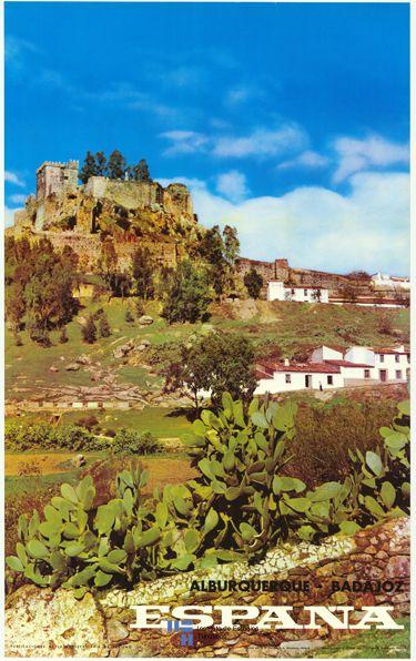 Alburquerque en la provincia de Badajoz, Extremadura, Spain en / vintage poster turismo de España cortesia de #Viajology