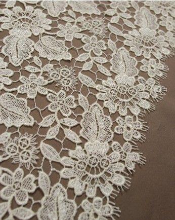Guipure Lace Fabric - Cream Floral
