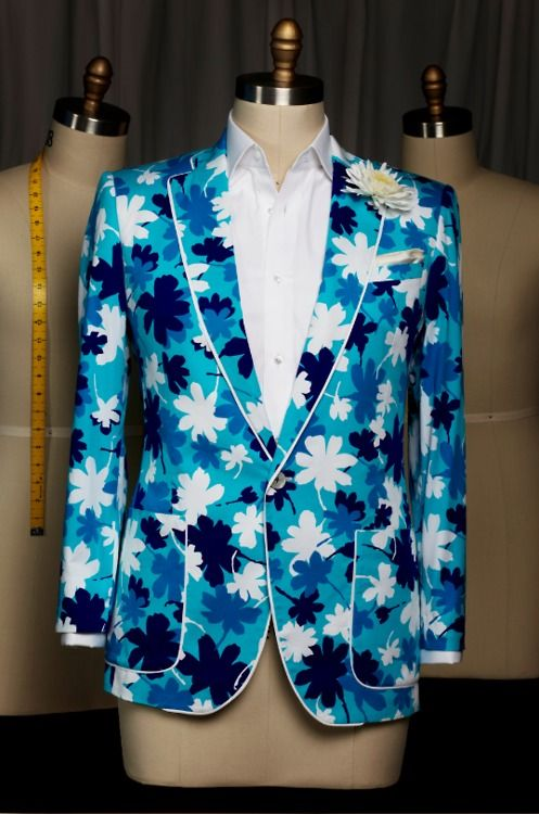 Daily Dandyism      Alexander Nash Bespoke Floral Cotton Print Blazer, 1/2 Lined, Piped in Cotton