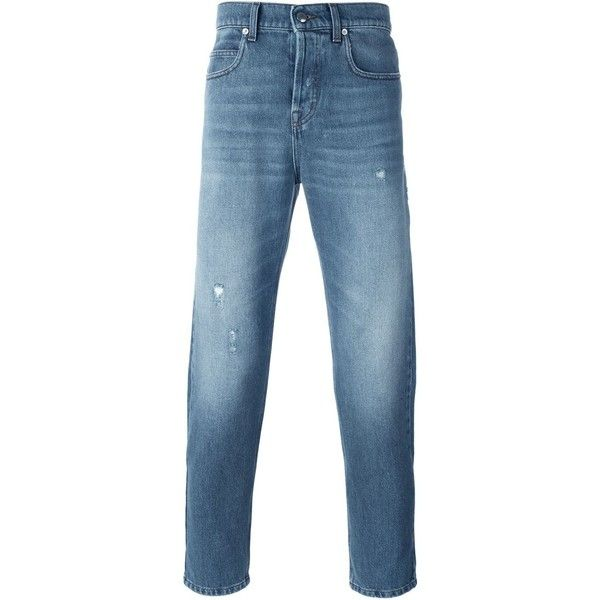 McQ Alexander McQueen tapered jeans (£170) ❤ liked on Polyvore featuring men's fashion, men's clothing, men's jeans, blue, mens blue jeans, mens tapered jeans, mens distressed jeans, mens ripped jeans and mens destroyed jeans