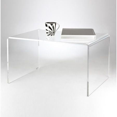 a classic clear acrylic coffee table made in 12mm transparent perspex with diamond polished edges for