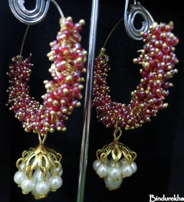 Bindurekha / Red Ghungroo Pearl Jhumka earrings
