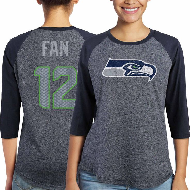 12 Fan Seattle Seahawks Majestic Women's Player Name & Number Tri-Blend Three-Quarter Sleeve T-Shirt - College Navy