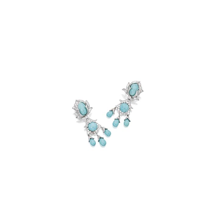 Pair of Platinum, Turquoise and Diamond Pendant-Earclips, David Webb | lot | Sotheby's