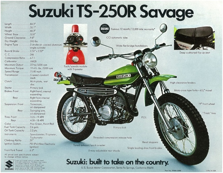 1972/73 Suzuki TS250 Savage.  These machines were well built, and still enjoy much success today as many of them are still on the road!