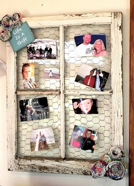 This cute picture frame is made out of an old window, some chicken wire and some rolled up newspaper/magazines for decoration www.emuridge.com.au