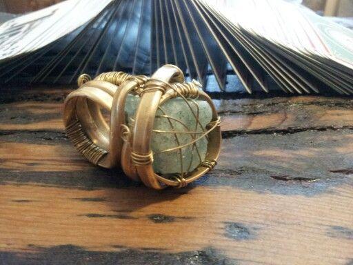 Brass ring with aquamarine.