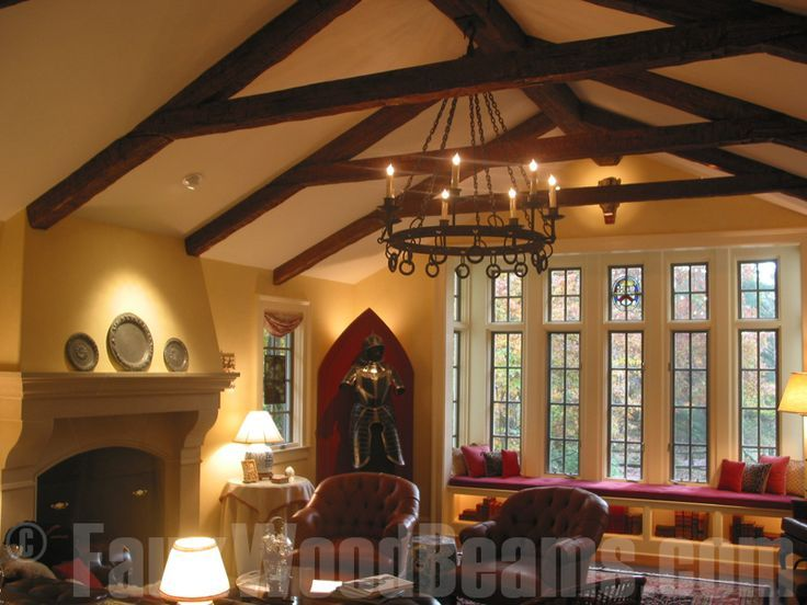 A Living Room With Medieval Accents, Highlighted By An A Frame Truss Made  Of. Faux Wood BeamsTimber ...