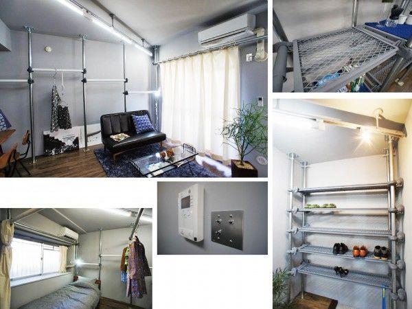 """▲成瀬さんが手がけたリノベーション賃貸住宅の室内。<br />入居者設定はアパレル勤務の25歳・独身男性を想定してプランを描いていったそう。<br />「従来の日本の住宅では、障子や襖が""""可動間仕切り""""の役目を果たしていましたが、<br />障子や襖の替わりに、工事用のパイプで空間を仕切るこんな賃貸住宅があっても面白いと思います」と村上心教授"""