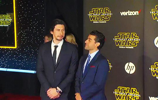 Adam Driver and Oscar Isaac at the Star Wars The Force Awakens World Premiere Red Carpet