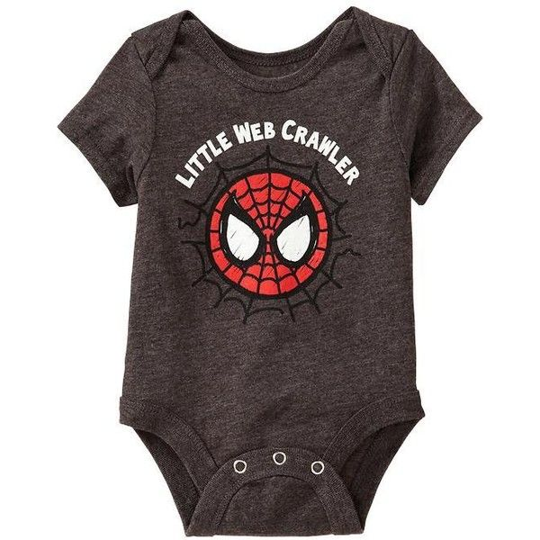 "Old Navy Marvel Spiderman ""Little Web Crawler"" Bodysuits For Baby -... ($6.97) ❤ liked on Polyvore featuring baby, baby boy, baby boy clothes, baby clothes en kids"