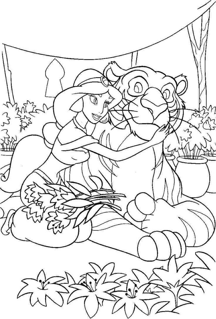 Princess jasmine coloring sheet Malebog Aladdin