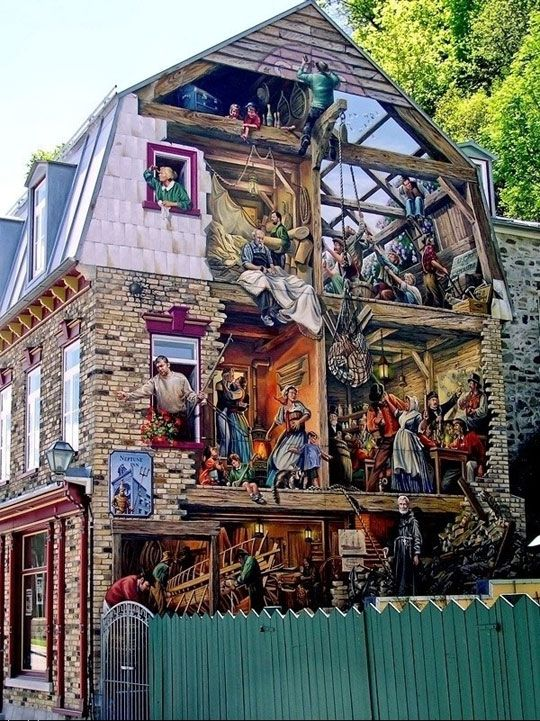 Sharp image of this amazing building work, possibly in Quebec City.