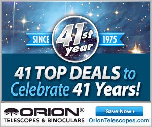 In celebration of our 41st anniversary, we've picked 41 of our best deals for you! Since 1975, our commitment to quality, service and support has made Orion your one-stop source for affordable astronomy gear.