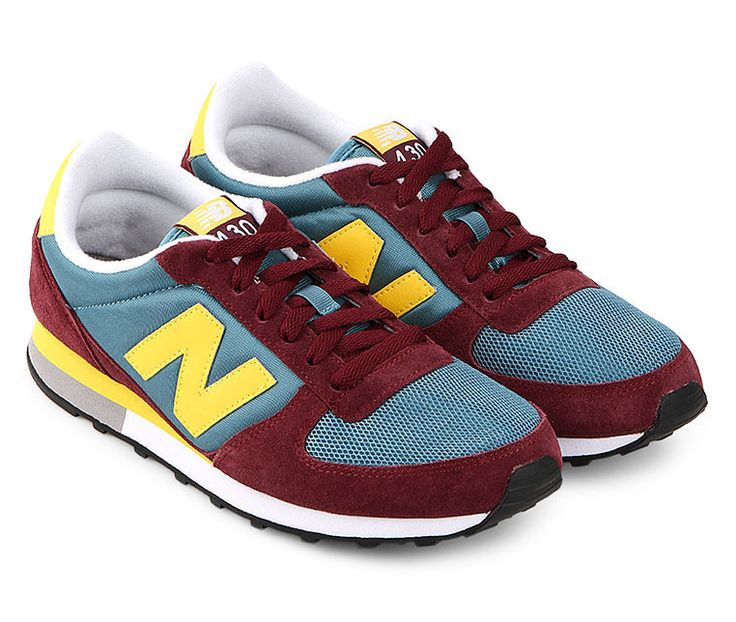 Mens Lifestyle Tier 2 U430 by New Balance. Upper suede sneakers, with burgundy, blue and yellow color, round toe, with mesh detail. Perfect shoes for run or just for everyday use, perfect for a bold casual look. http://www.zocko.com/z/JG0kK