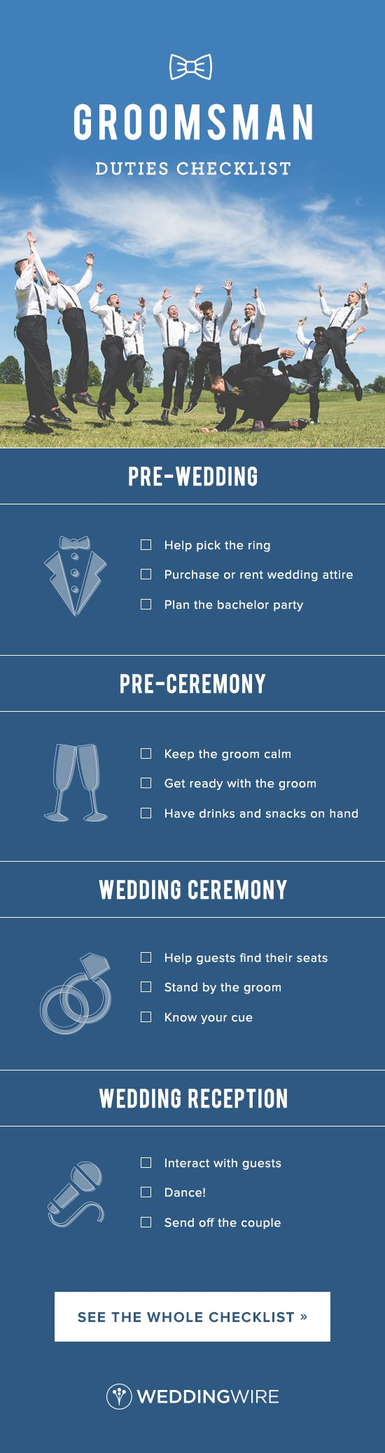Groomsman Duties Checklist - Being a groomsmen in your friend's big day is a huge honor! See the ultimate groomsmen duties checklist so you don't miss a thing on @weddingwire! {Brett Loves Elle Photography}