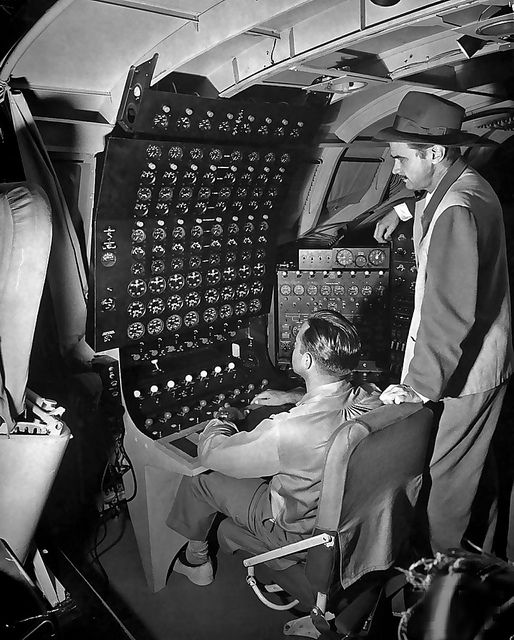 """1947 -- Howard Hughes in his H-4 Hercules -- the """"Spruce Goose """"  (reportedly a nickname Hughes did not like)."""