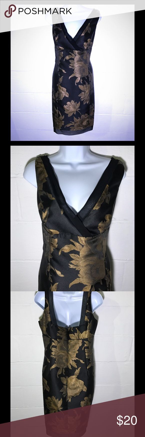 Sleeveless dress Black dress with gold floral. Work to cocktail party - NWOT Jones New York Dresses Midi