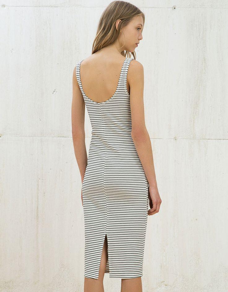 Vestido de punto ajustado - Vestidos - Bershka España
