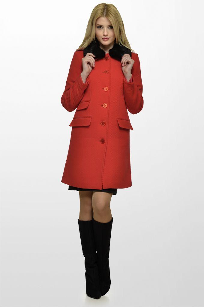 Sarah Lawrence - coat with fake fur collar, pencil skirt.