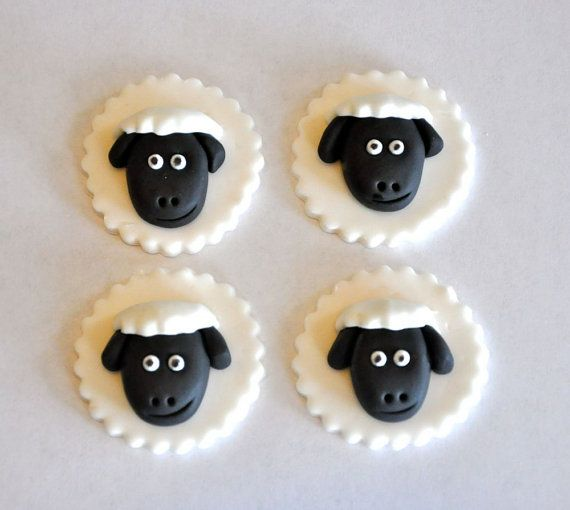 Sheep Fondant Cupcake Cake or Cookie Toppers by LadyCupcakesCorner, $15.95
