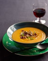 Red Kuri Squash Soup   Contributed By: Alice Waters   Red-orange kuri squash has a pumpkin shape, but no ridges. Its flavor is sweet and nutty, reminiscent of chestnuts.   From: foodandwine.com