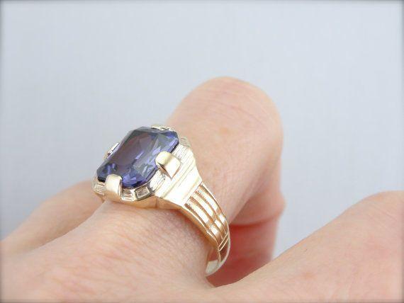 Ethnic Solid 14K Yellow Gold Synthetic Alexandrit Wedding & Engagement Men Ring  #uniquegemstone17