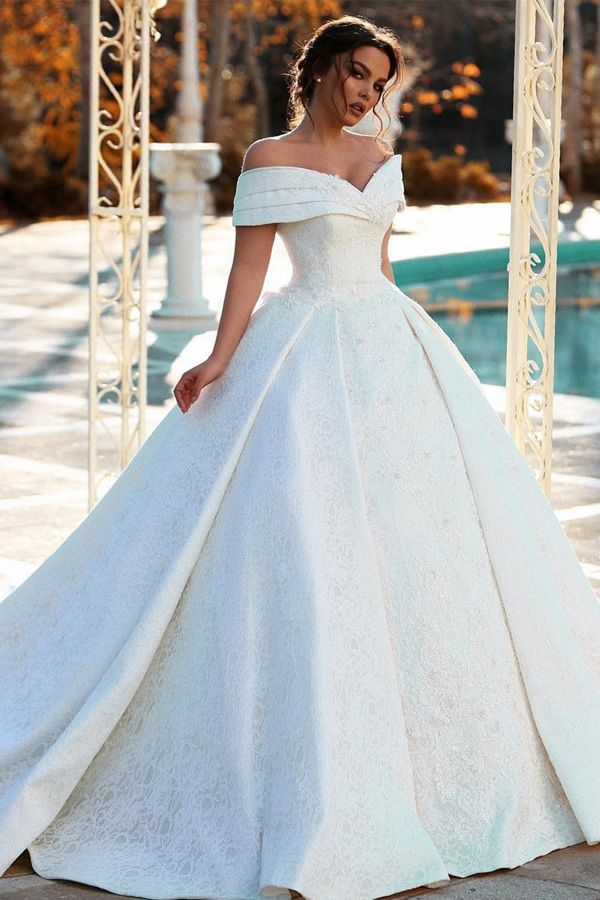 [285.20] Fantastic Lace & Satin Off-the-shoulder Neckline Ball Gown Wedding Dresses With Beaded Lace Appliques