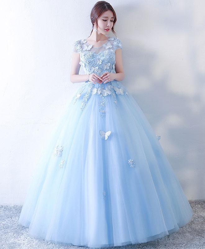 9fe5deb6df2 Cute blue tulle lace long prom dress