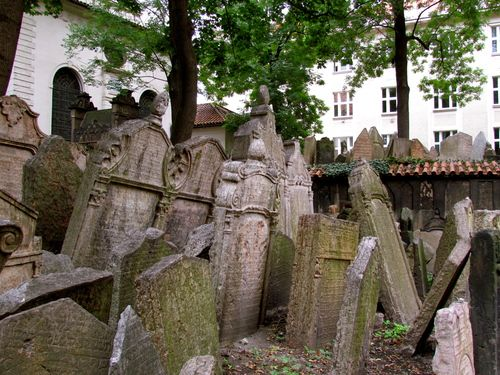 Old Jewish Cemetery in Jewish Quarter of Prague.  ... something interesting to note - Jewish Quarter is located in Josefov, the smallest cadastral area of Prague.