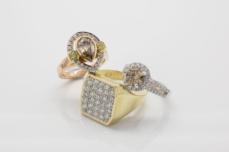 www.underwoodsfinejewellerskawana.com.au  Rose Gold Australian Chocolate Diamond with white and yellow diamonds. Australian Chocolate 1.3 carat Diamond ring Engagement ring