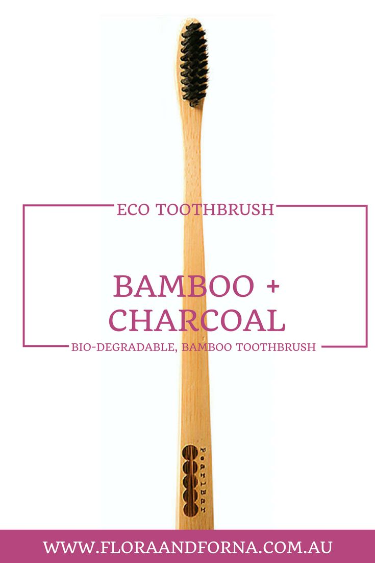 Biodegradable Bamboo + Charcoal Toothbrush. Soft charcoal bristles