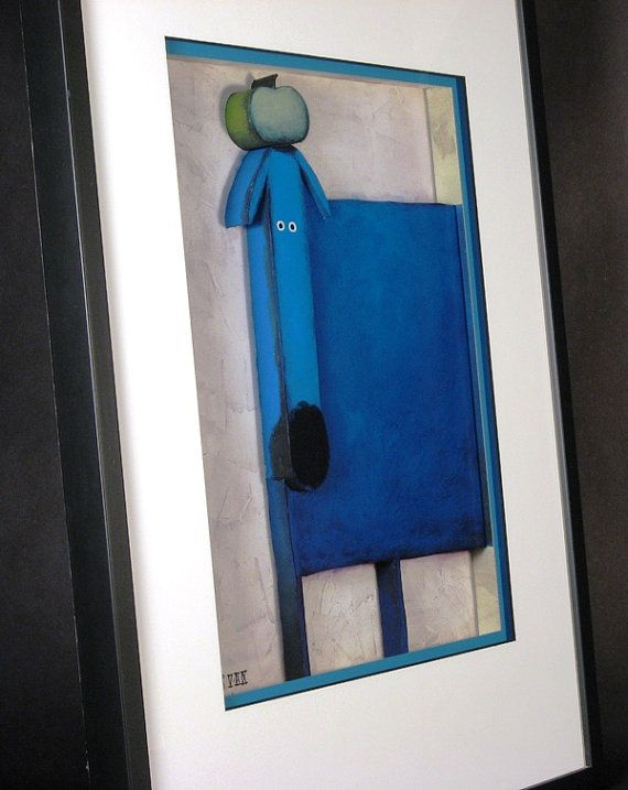 #3DArt #Blue #Dog With #Black Nose with #Green #GrannySmith #Apple on Head Black Frame  (Large) Dog Lover #Art Gift Modern #CountryChic #3DArtwork #Puppy #pets