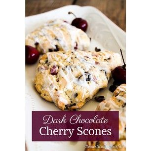 Dark Chocolate Cherry Scones now #ontheblog at DomesticallyBlissful.com #Recipe #Scones #Brunch