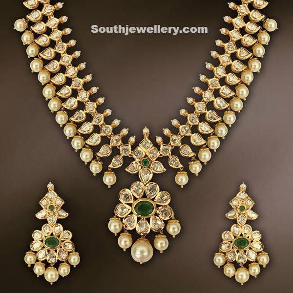 Beautiful Uncut Diamond necklace - Indian Jewellery Designs South Jewellery