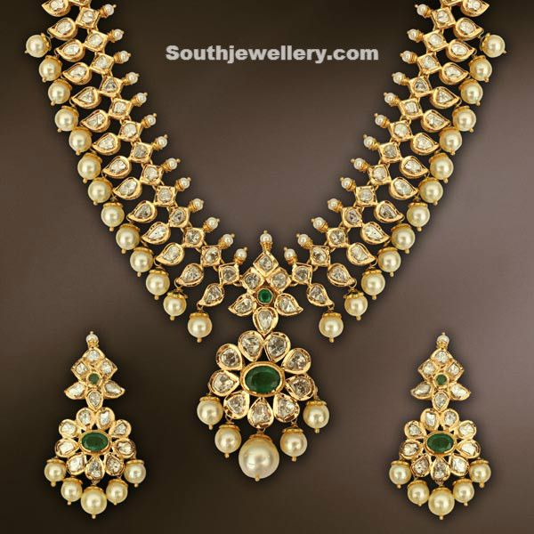 Beautiful Uncut Diamond Necklace Indian Jewellery