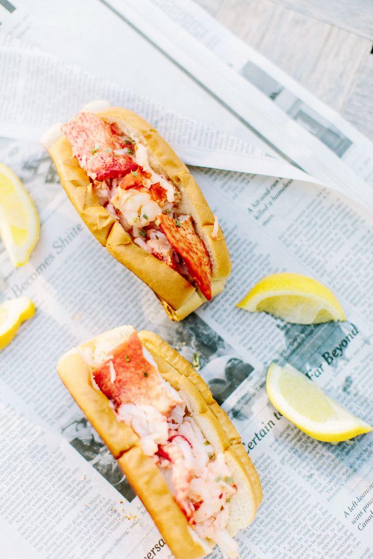 Lobster rolls with slices of lemon