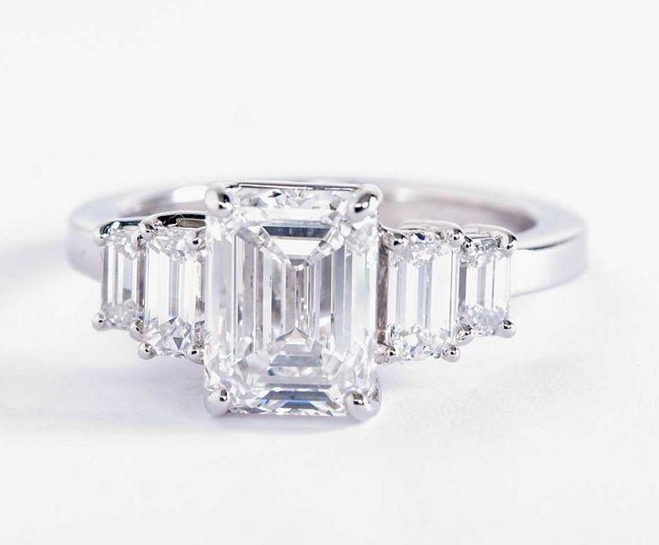 2.5 Carat Emerald-Cut Diamond in the Four Stone Emerald Diamond Engagement Ring   Blue Nile